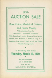 195th auction sale of rare coins, medals & tokens, and paper money. [03/19/1959]