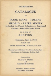 Eighteenth catalogue of rare coins, tokens, medals, paper money, etc. [04/06/1935]