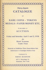 Thirty-eighth catalogue of rare coins, tokens, medals, paper money, etc. [04/01/1938]