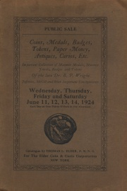 Public sale : the great Masonic collection of the late Dr. B. P. Wright of Schenectady, N. Y. ... T. J. Jefferies and other important correspondents. [06/11/1924] (pg. 115)