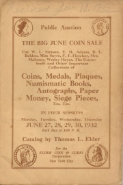 Public sale : the big June coin sale : the Stetson, Adams, Belden, Hayes, Fletcher, Senft, Sayre, Maloney and other important collections of coins, medals, paper money, tokens, plaques, orders, decorations, autographs, etc. [06/27/1932]