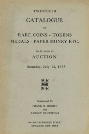 Twentieth catalogue of rare coins, tokens, medals, paper money, etc. [07/13/1935]