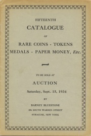 Fifteenth catalogue of rare coins, tokens, medals, paper money, etc. [09/15/1934]