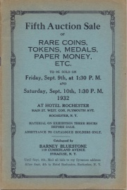 Fifth auction sale of rare coins, tokens, medals, paper money, etc. [09/09/1932]