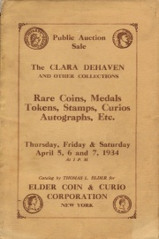 Public auction sale : the Clara Dehaven and other collections. [04/05/1934]