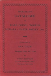 Fourteenth catalogue of rare coins, tokens, medals, paper money, etc. [0/15/1934]