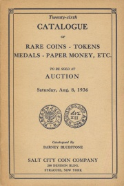 Twenty-sixth catalogue of rare coins, tokens, medals, paper money, etc. [08/08/1936]