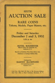 Sixth auction sale : rare coins, tokens, medals, paper money, etc. [12/02/1932]