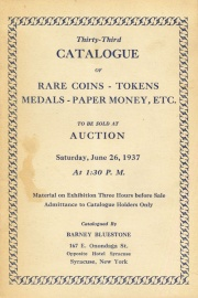 Thirty-third catalogue of rare coins, tokens, medals, paper money, etc. [06/26/1937]