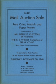 174th mail auction sale of rare coins, medals, and paper money. [12/30/1948]