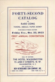 Forty-second catalog of rare coins, tokens, medals, paper money to be sold at public auction. [10/23/1953]