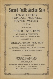 Second public auction sale : rare coins, tokens, medals, paper money, etc. [01/16/1932]