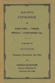 Eleventh catalogue of rare coins, tokens, medals, paper money, etc. [11/28/1933]