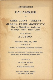 Nineteenth catalogue of rare coins, tokens, medals, paper money, etc. [05/25/1935]