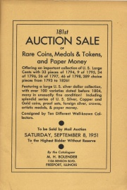 181st auction sale of rare coins, medals & tokens, and paper money. [09/08/1951]