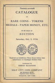 Twenty-seventh catalogue of rare coins, tokens, medals, paper money, etc. [10/03/1936]