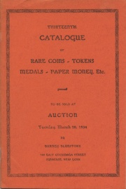 Thirteenth catalogue of rare coins, tokens, medals, paper money, etc. [03/20/1934]