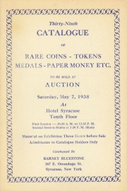 Thirty-ninth catalogue of rare coins, tokens, medals, paper money, etc. [05/07/1938]