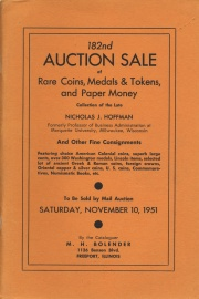 182nd auction sale of rare coins, medals & tokens, and paper money. [11/10/1951]