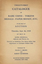 Twenty-first catalogue of rare coins, tokens, medals, paper money, etc. [09/26/1935]