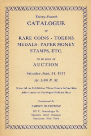 Thirty-fourth catalogue of rare coins, tokens, medals, paper money, stamps, etc. [09/11/1937]