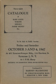 Ninety-eighth catalogue of rare coins, tokens, medals, paper money, etc. [10/03-04/1947]