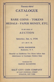 Twenty-third catalogue of rare coins, tokens, medals, paper money, etc. [01/04/1936]