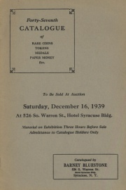 Forty-seventh catalogue of rare coins, tokens, medals, paper money, etc. [12/16/1939]