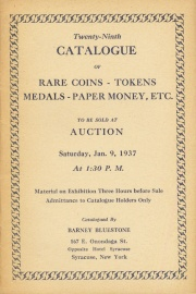 Twenty-ninth catalogue of rare coins, tokens, medals, paper money, etc. [01/09/1937]