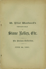 CATALOGUE OF THE ARCHAEOLOGICAL CABINET OF O. A. JENISON, OF LANSING, MICHIGAN. COMPRISING STONE IMPLEMENTS AND OBJECTS IN GREAT VARIETY. AXES, TOMAHAWKS, CELTS, CHISELS, GOUGES, PESTLES, HAMMERS, SPEAR HEADS, ARROW POINTS, DRILLS, BANNER STONES, GORGETS, PENDANTS, AMULETS, PIPES, ETC., ETC. THE WHOLE FORMING, WITHOUT DOUBT, THE BEST EXISTING COLLECTION ILLUSTRATING THE STONE AGE, IN MICHIGAN, TOGETHER WITH A FEW PRE-HISTORIC OBJECTS IN COPPER, AND A GOOD VARIETY OF THE ARMS, ETC., USED BY THE SAVAGE TRIBES OF AMERICA WITHIN THE HISTORIC PERIOD. ALSO A SMALL COLLECTION OF FINE COINS.