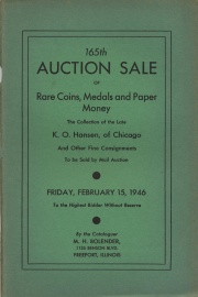 165th auction sale of rare coins and paper money. [02/15/1946]