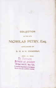 CATALOGUE OF THE COLLECTION OF GREEK, ROMAN, EUROPEAN AND AMERICAN COINS AND MEDALS OF THE LATE NICHOLAS PETRY, ESQ., OF PHILADELPHIA.