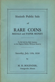 Sixtieth public sale of rare coins, medals, and paper money. [07/12/1930]