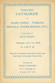 Twenty-eight catalogue of rare coins, tokens, medals, paper money, etc. [11/14/1936]