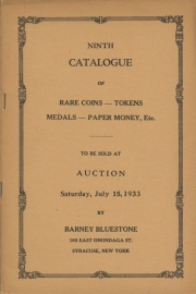 Ninth catalogue of rare coins, tokens, medals, paper money, etc. [07/15/1933]