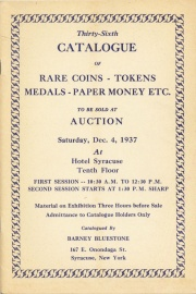 Thirty-sixth catalogue of rare coins, tokens, medals, paper money, etc. [12/04/1937]