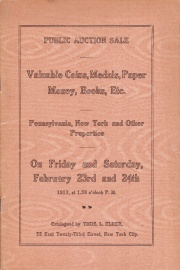 Catalogue of several collections of coins, medals, paper money, books, etc. [02/23/1917]