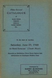 Fifty-second catalogue of rare coins, tokens, medals, paper money, etc. [06/29/1940]