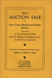 162nd auction sale of rare coins, medals, and paper money. [04/13/1945]