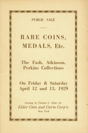 Public sale of Fash and Atkinson collections. [04/12/1929]