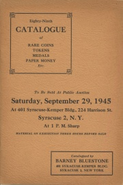 Eighty-ninth catalogue of rare coins, tokens, medals, paper money, etc. [09/29/1945]