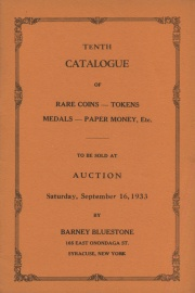 Tenth catalogue of rare coins, tokens, medals, paper money, etc. [09/16/1933]