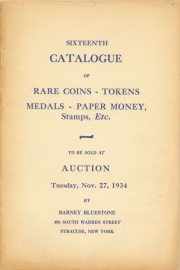 Sixteenth catalogue of rare coins, tokens, medals, paper money, etc. [11/27/1934]