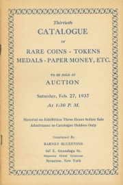 Thirtieth catalogue of rare coins, tokens, medals, paper money, etc. [02/27/1937]